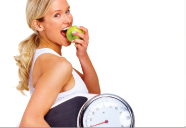 Girl with apple and scale